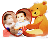 Love shaped photo frame with teddy VizagShop.com
