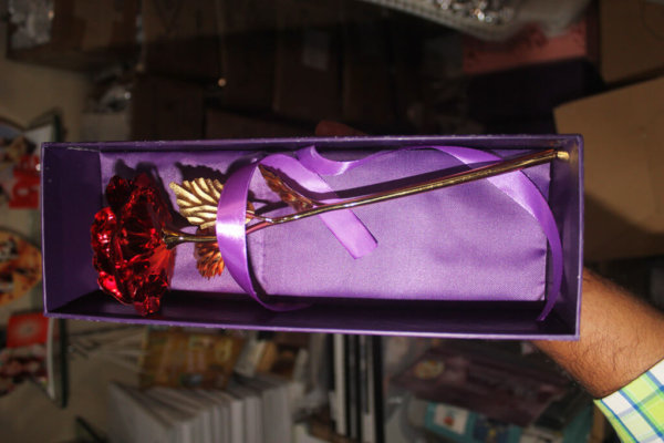 Red Rose Metal 24k Gold VizagShop.com
