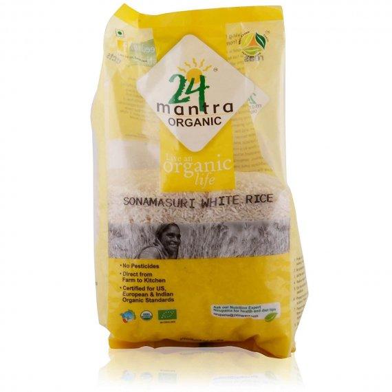 24 Mantra Organic Sona Masuri Raw Rice Polished 1kg VizagShop.com
