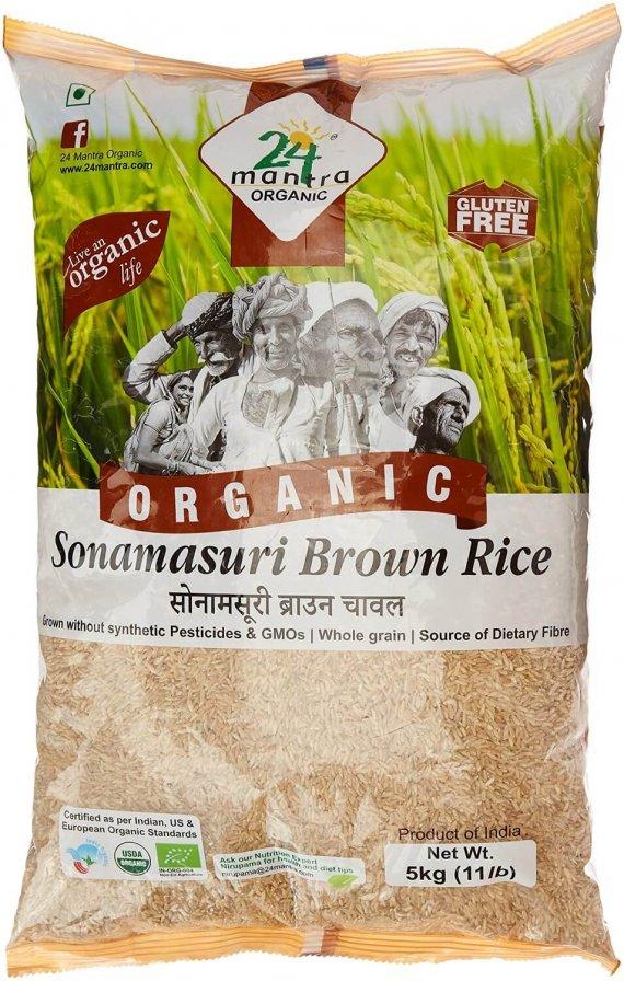 24 Mantra Organic Sonamasuri Raw Rice Brown Organic 5kg VizagShop.com