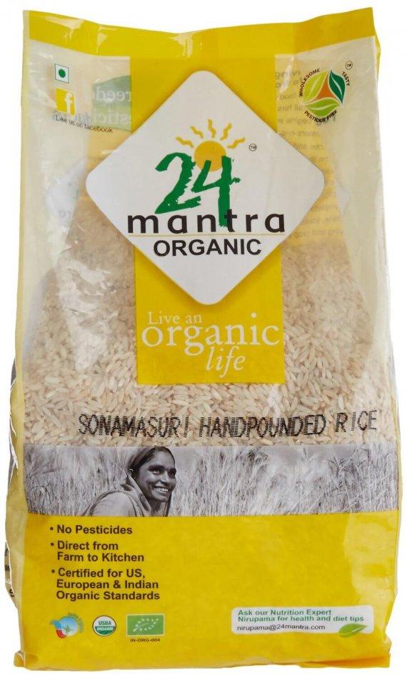 24 Mantra Organic Sonamasuri Raw Semi Brown Rice Handpounded 1kg VizagShop.com