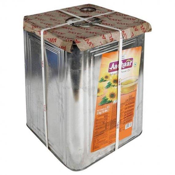 Aadhaar Sunflower Oil Tin 15 kg VizagShop.com