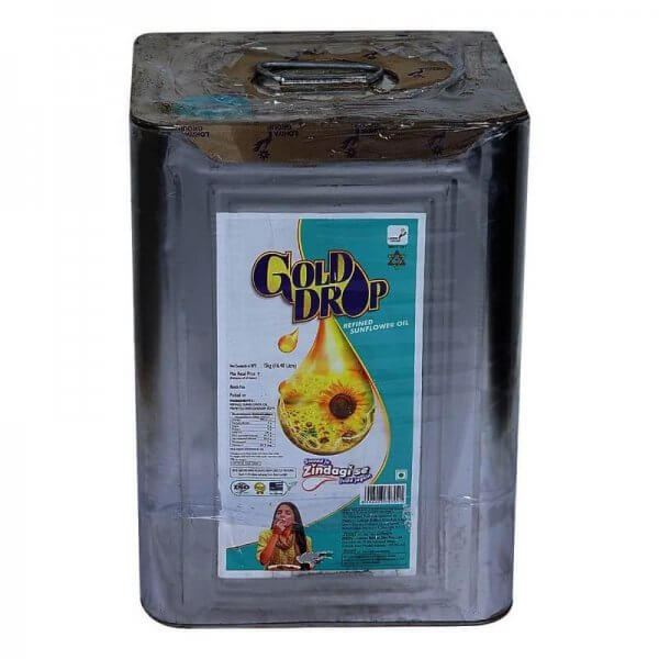 Gold Drop Sunflower Oil Tin 15 Kg VizagShop.com