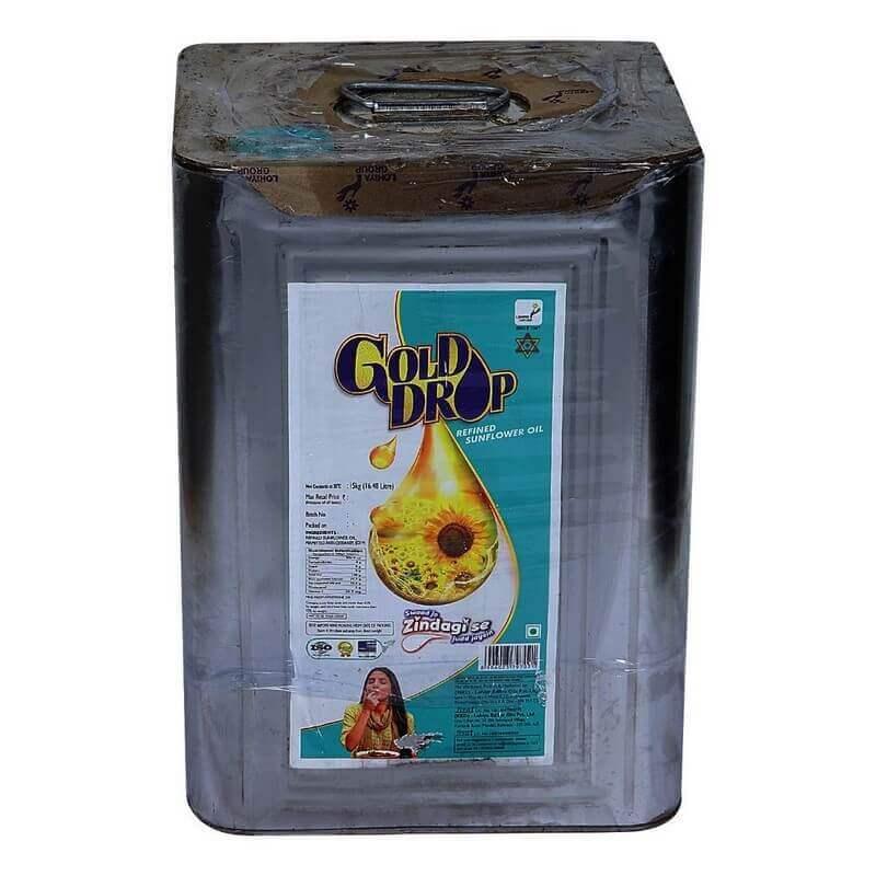 Gold Drop Sunflower Oil Tin 15 Kg VizagShop.com